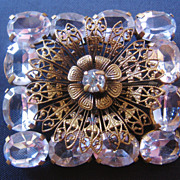 Vintage Signed Czechoslovakia Brass and Faceted Clear Crystal Pin-Brooch