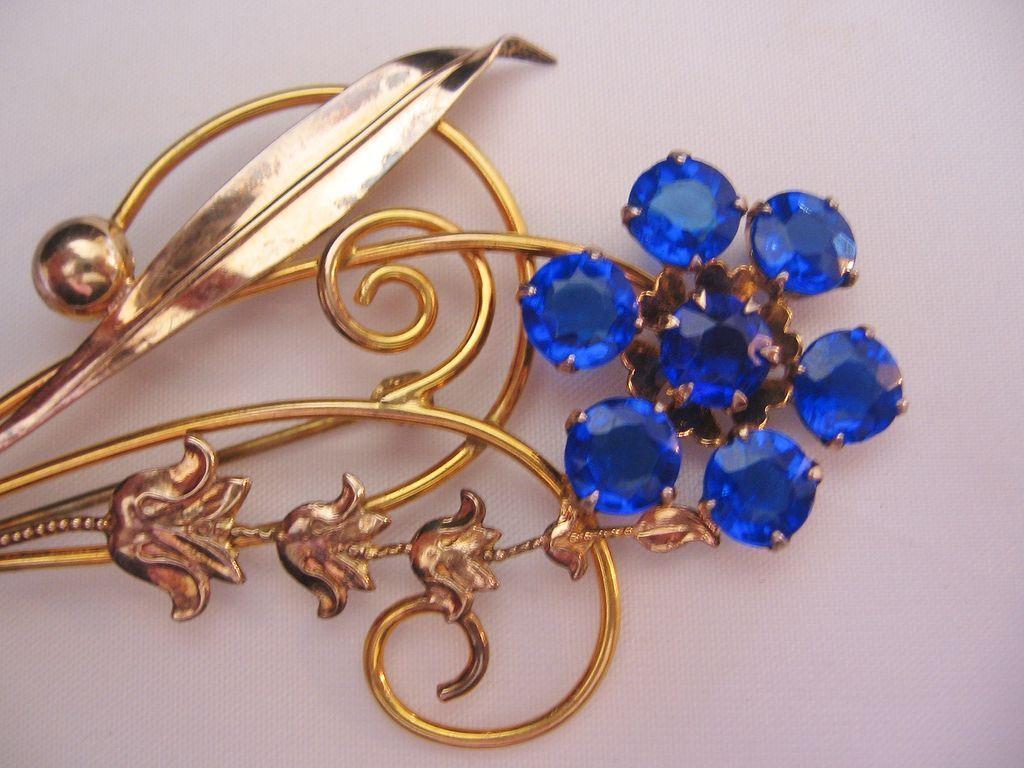 Vintage Retro Modern Cobalt Blue Glass Floral Pin-Brooch