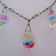Art Deco Iris Glass and Paperclip Chain Necklace