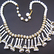 Vintage West German White Art Glass White and Gold Accent Necklace