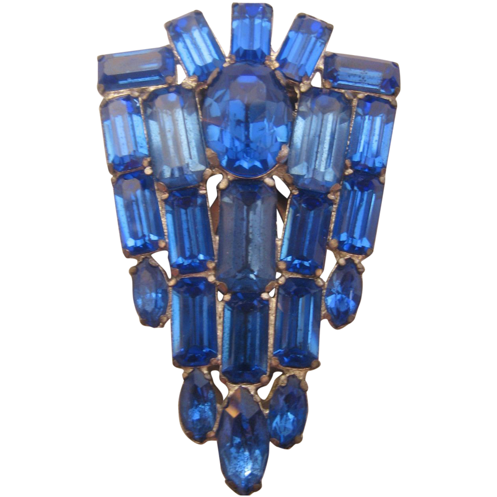 Vintage Large Royal Blue Rhinestone  Art Deco Dress Clip