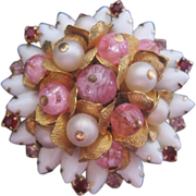 Vintage White Rhinestone-Pink Art Glass and Faux Pearl Pin-Brooch