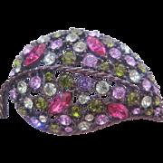 Vintage Multi Colored Rhinestone Leaf Pin-Brooch