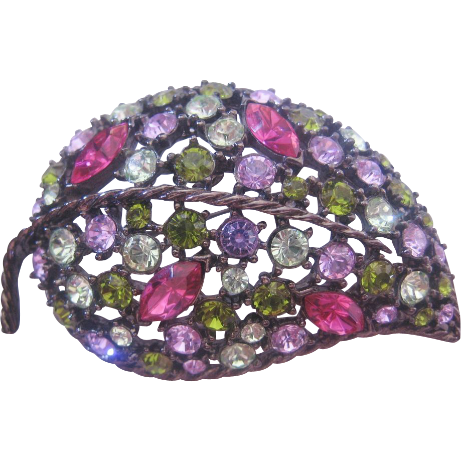 Vintage Multi Colored Rhinestone Leaf Pin-Brooch