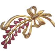 Vintage  Fuchsia Glass Floral Spray Pin Brooch