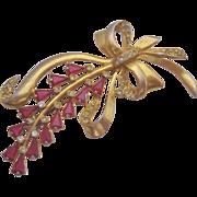 Vintage  Fuchsia Glass Floral Spray Pin Brooch