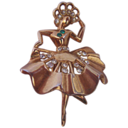 Vintage Fancy Figural Dancing Girl with Crown Pin-Brooch