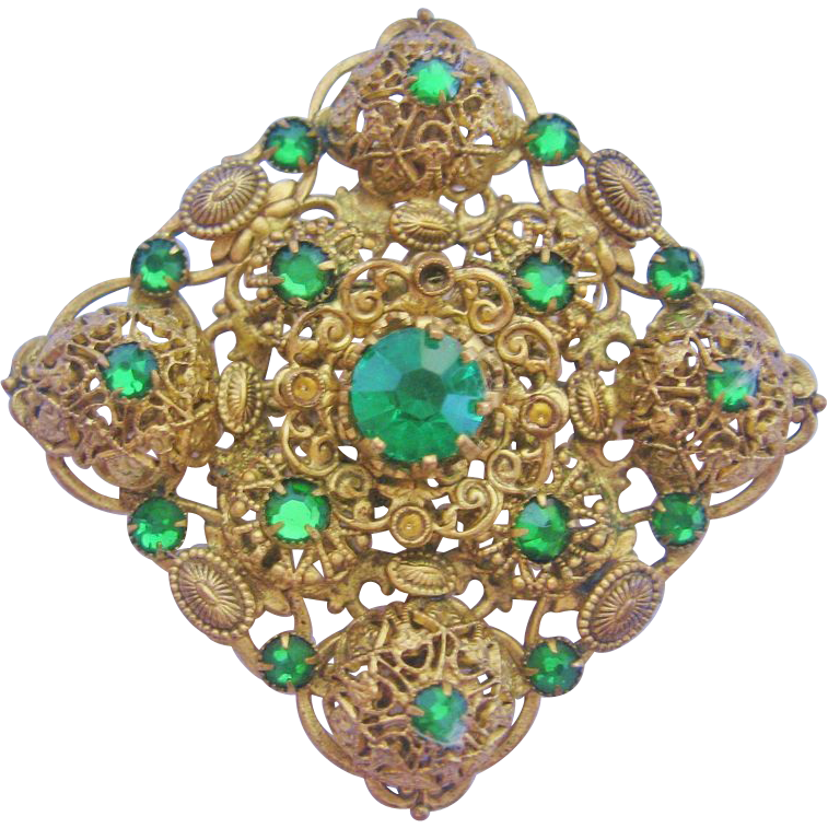 Czech Green Rhinestone and  Mirror Back Glass Brass Pin-Brooch