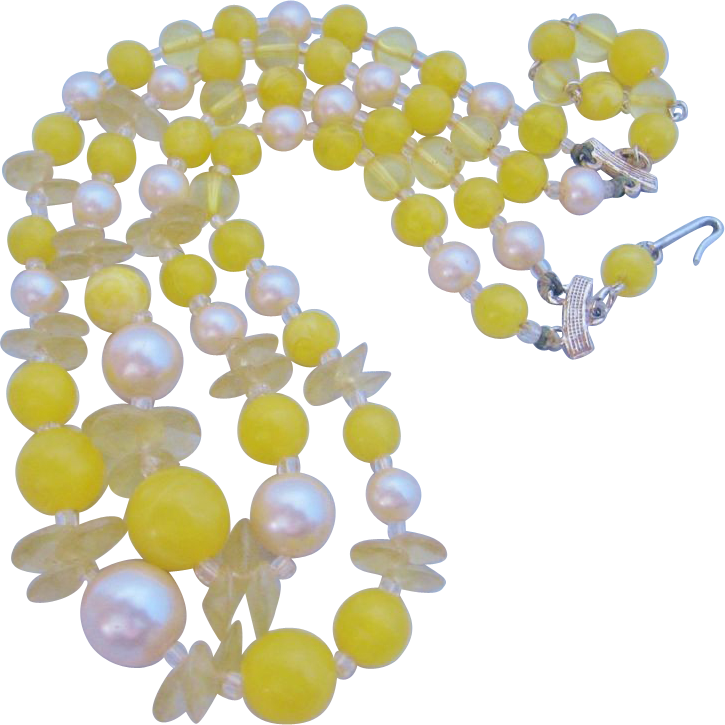 Vintage Lemon Yellow Demi Bib Necklace -Japan