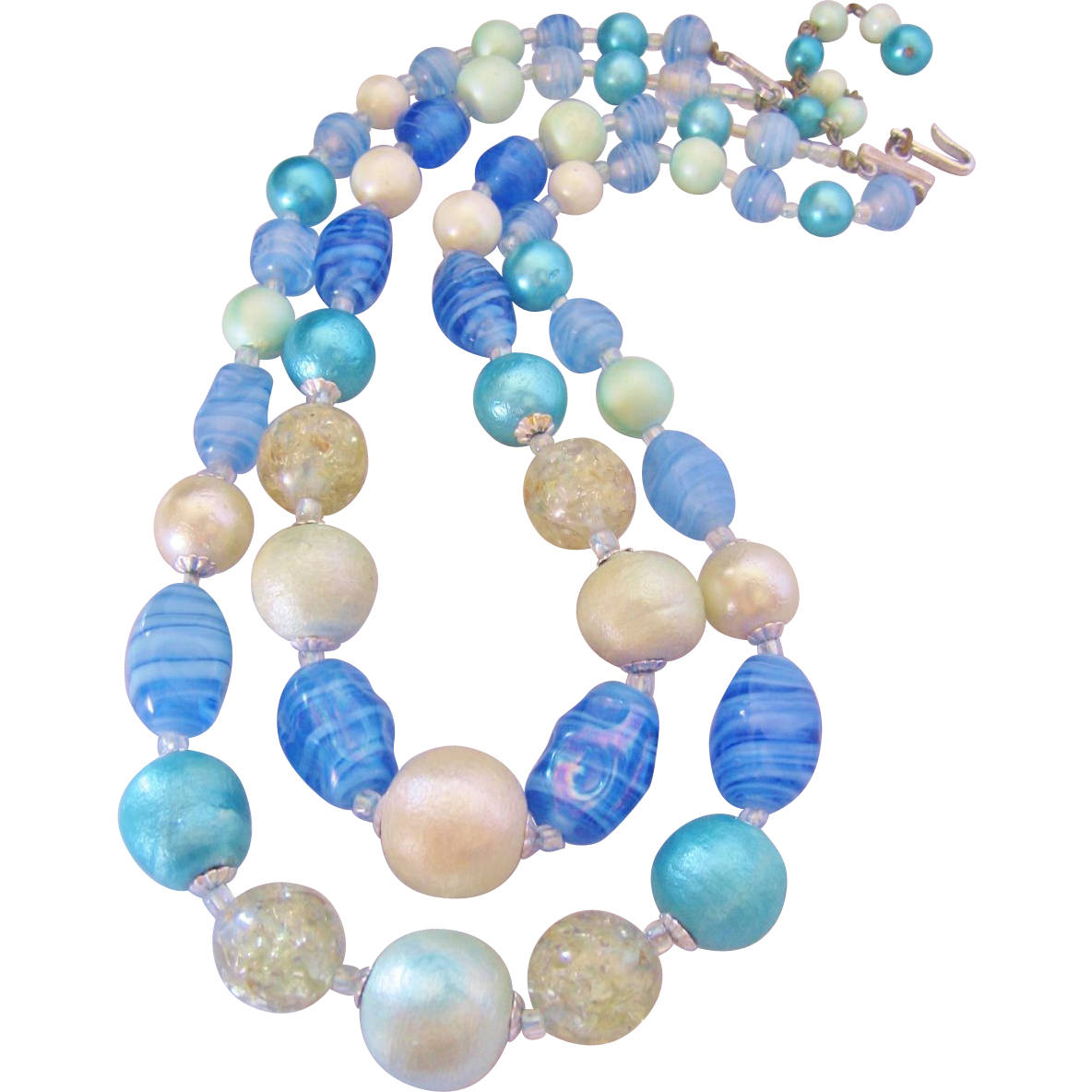 Vintage Blue Art Glass Demi Bib Necklace -Japan
