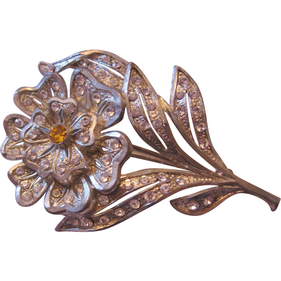 Vintage Pot Metal Floral Rhinestone Pin-Brooch