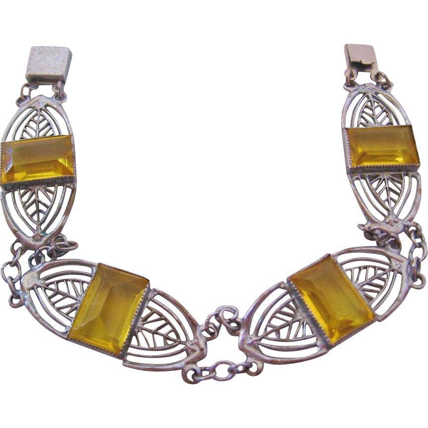 Vintage Deco Yellow Glass Panel Bracelet