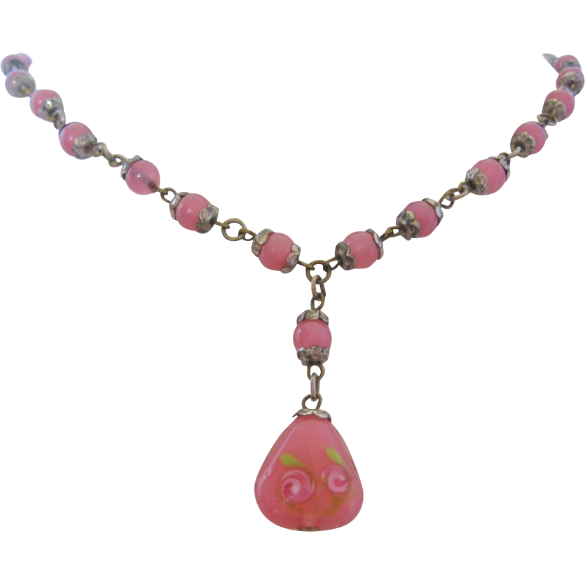 Vintage Czech Pink Satin and Floral Lampwork Glass Necklace