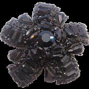 Vintage Weiss-Japanned Black Rhinestone Pin-Brooch