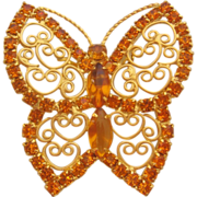 Vintage Large Amber Rhinestone Butterfly with Scroll Wings-Pin-Brooch