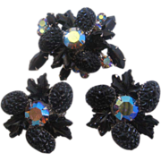 Vintage Judy Lee -Black and Aurora Molded Glass- Rhinestone Pin-Brooch Set