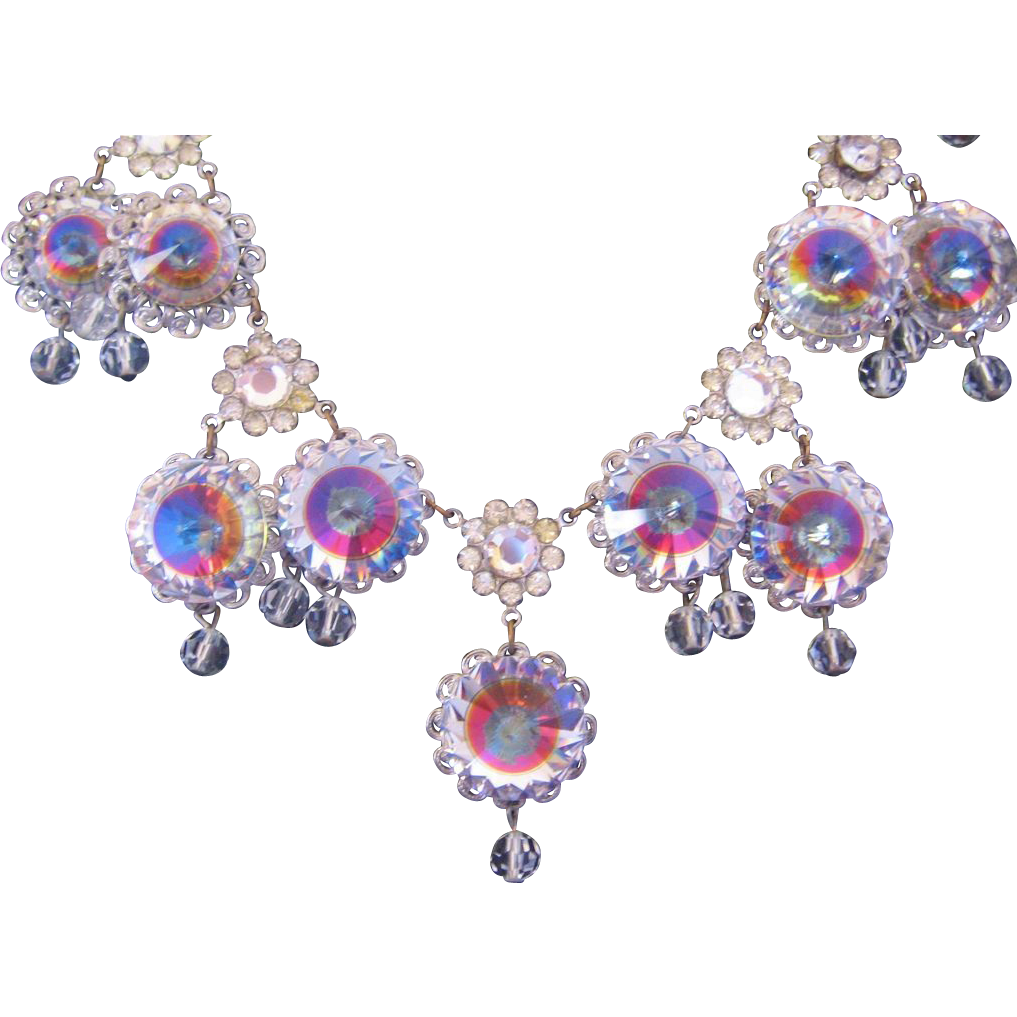 Vintage Rivoli-Crystal Statement Bib Necklace