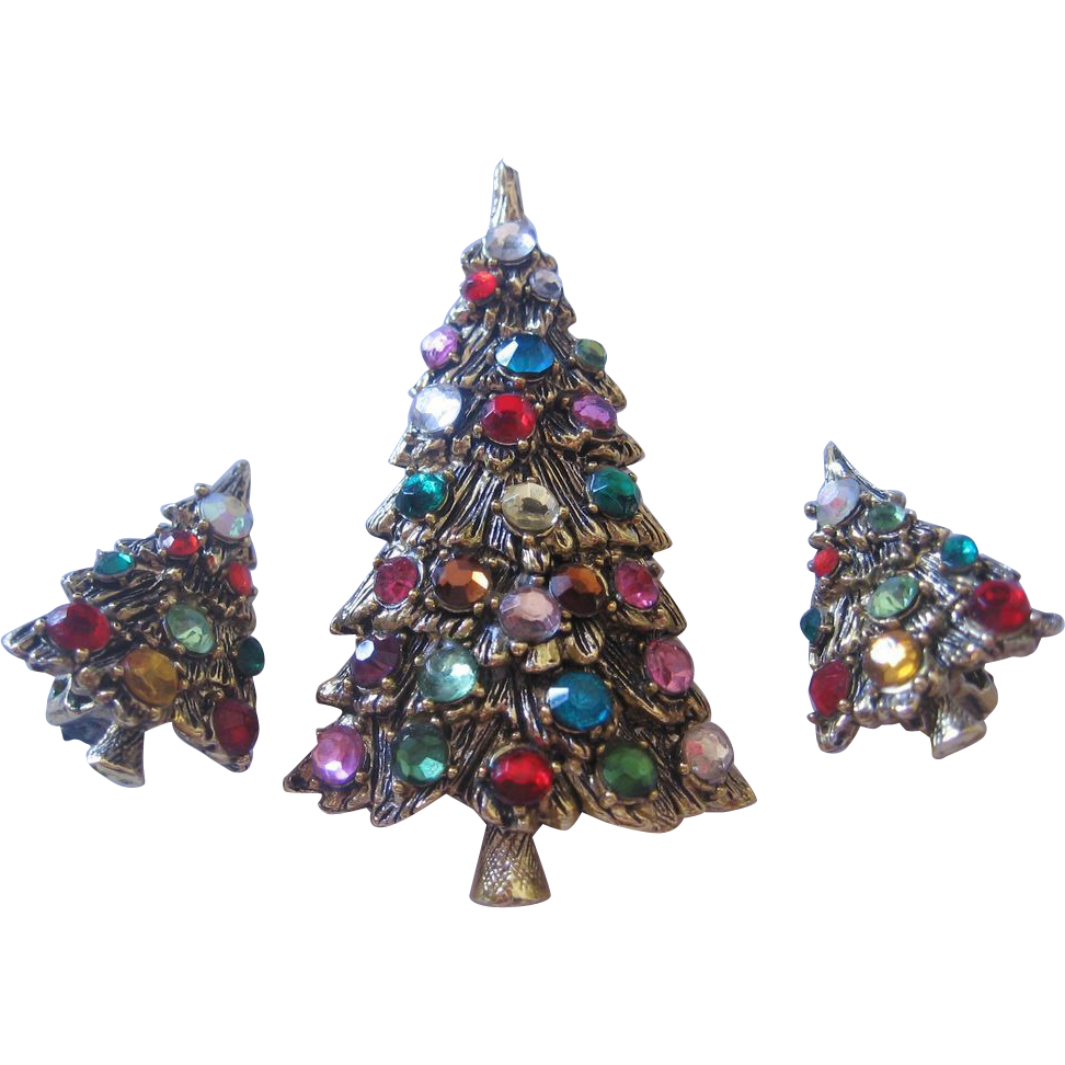 Vintage Multi Colored Christmas Tree Pin Brooch And Multi Color Tree