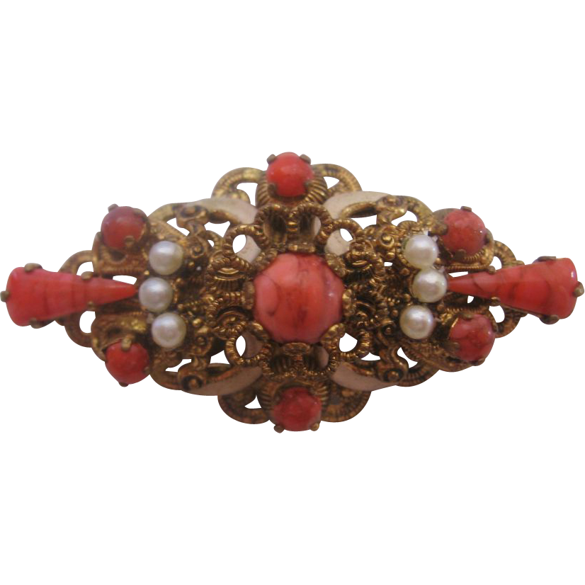 Vintage Brass Faux Coral and Imitation Pearl Pin-Brooch
