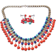 Vintage Book Chain Multi Color Glass Bead Bib Necklace and Earrings Set
