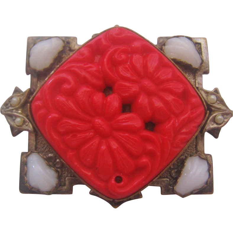 Vintage Czech Red Pressed Glass Pin-Brooch