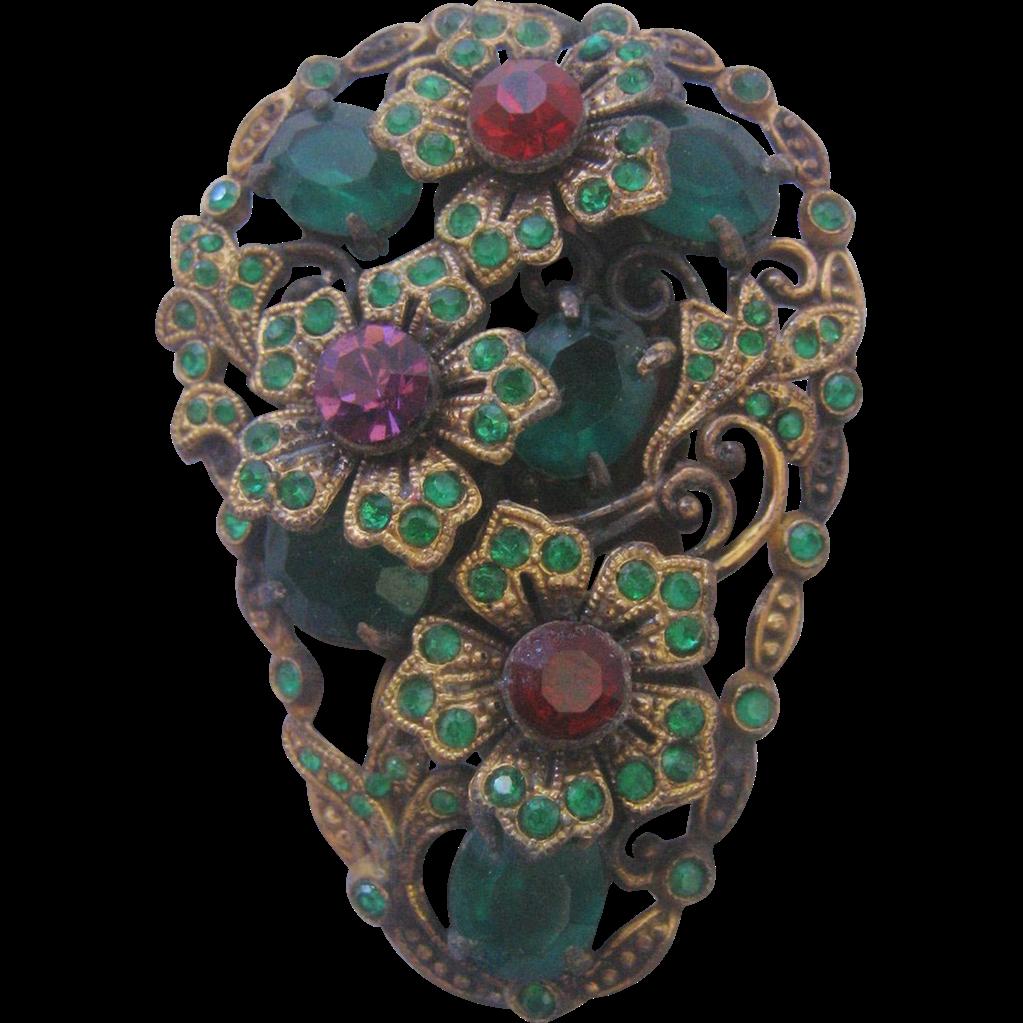 Vintage Czech Brass Multi Color Glass Floral Dress Clip