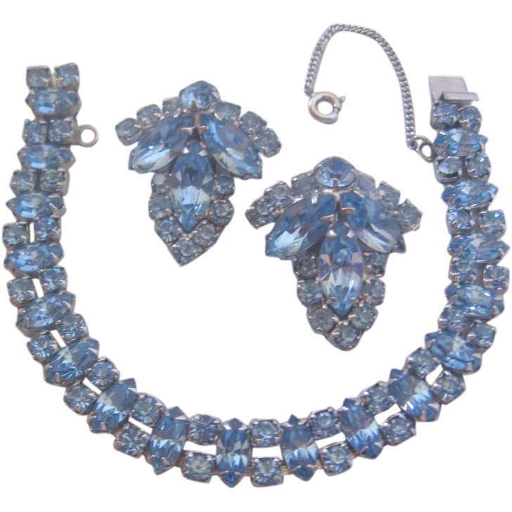 Vintage Ice Blue Rhinestone Line Bracelet and Earrings Set