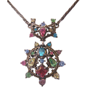 Vintage Hollycraft Pastel Rhinestone Necklace-1951
