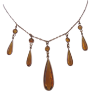 Vintage Art Deco Faceted Golden Amber Tear Drop Glass Necklace