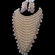 Vintage Statement Simulated Pearl and Crystal Bib Demi