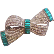Vintage Pot Metal Clear and Green Rhinestone Bow Pin-Brooch