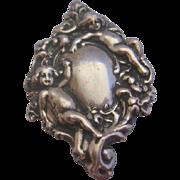 Vintage Sterling Silver Repousse Angel-Cherub Pin-Brooch