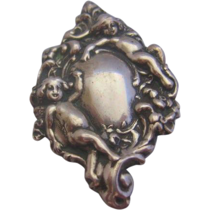 Vintage Sterling Silver Repousse Angel-Cherub Pin-Brooch