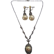 Vintage Deco Era Simulated Pearl and Marcasite Necklace and Drop Earring Set
