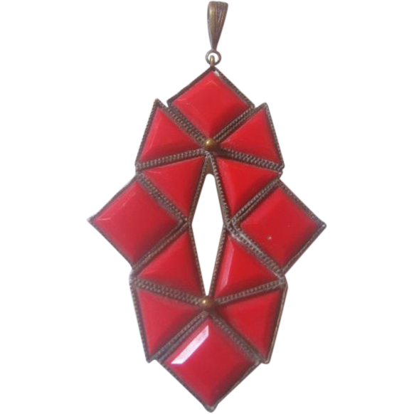 Vintage Czech  Lipstick Red Glass Art Deco Design Brass Pendant