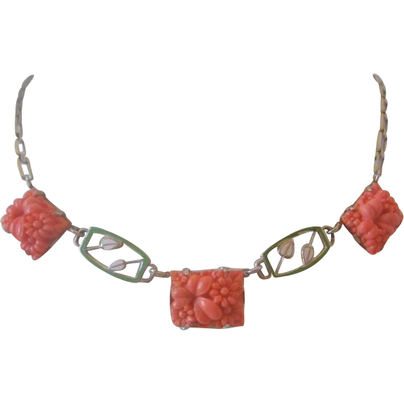 Vintage Czech Press Molded Glass and Enamel Necklace