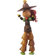 Vintage Early Plastic and Bead Figural Cowgirl Pin-Brooch