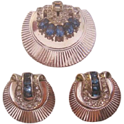 Vintage Art Deco Style Demi Parure-Fur Clip and Earrings
