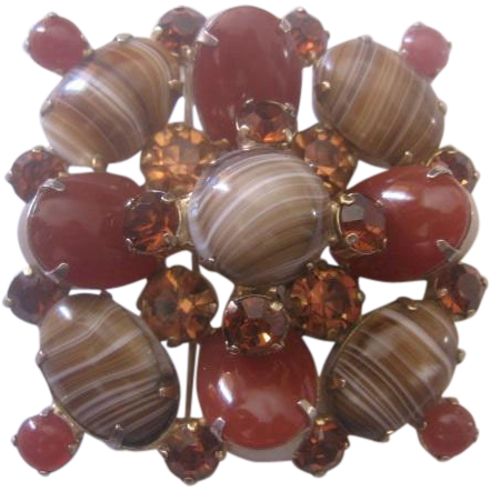 Vintage Large Art Glass and Rhinestone Pin-Brooch