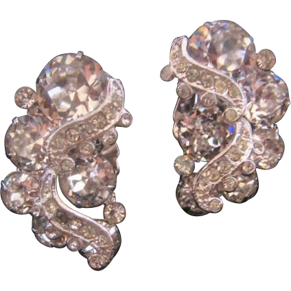 Vintage Weiss Clear Rhinestone Earrings from vintagejewelrylounge on ...