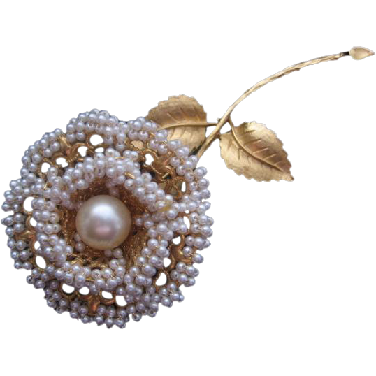 Vintage Simulated Pearl and Gold tone Rose Pin-Brooch