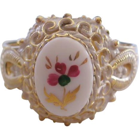 Vintage Goldtone Whitewashed Painted Enamel Cuff Bracelet