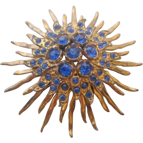 Vintage Mid Century Brass Domed Starburst with Blue Stones-Pin Brooch