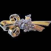 Vintage Mazer Flower and Bow Rhinestone Pin-Brooch