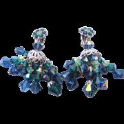 Stunning Vintage Kramer Green-Blue Aurora Crystal Chandelier Earrings