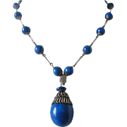 Vintage Art Deco Glass and Silver tone Simulated Lapis Lazuli  Necklace