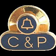 Vintage Phone Company Pin - 10k Gold C & P Telephone Service Communications Company
