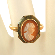10k Gold Carved Shell Diamond Cut Framed Vintage Cameo Size 6 Ring