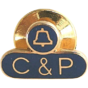 Vintage Phone Company Pin - 10k Gold C & P Communications Telephone Service