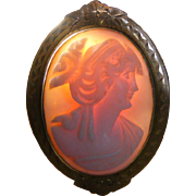 Antique Pink Shell Cameo in 10k Gold Frame Pin, Pendant